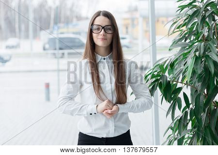 Confident Friendly Business Woman In Glasses
