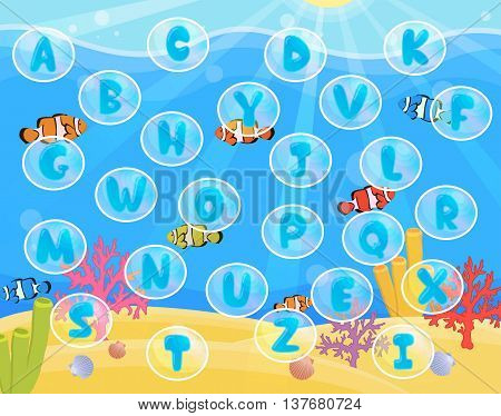 Lovely children activity play placemat rug for alphabet learning with underwater sea with ripples, corals, fish and bubbles background.