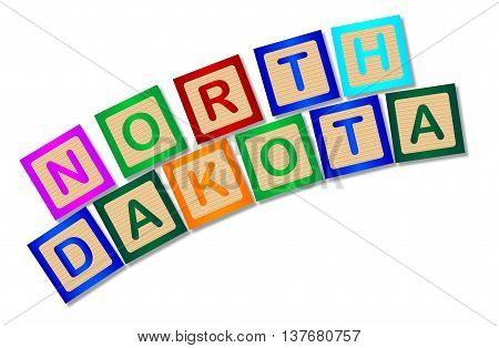 A collection of wooden block letters spelling North Dakota over a white background
