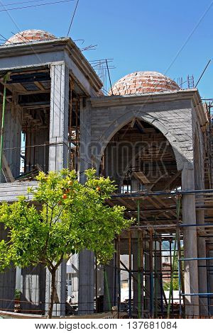 A new Mosque under construction in a Turkish town