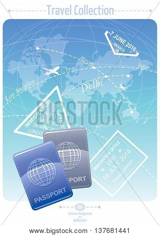 Vacation and travel banner concept design with world map background, stamps and passport icon. Concept poster for tourism agency, airplane service.
