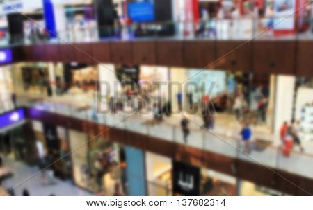 shopping center view from the top inside boutiques and shops people walking and shopping blurred for background
