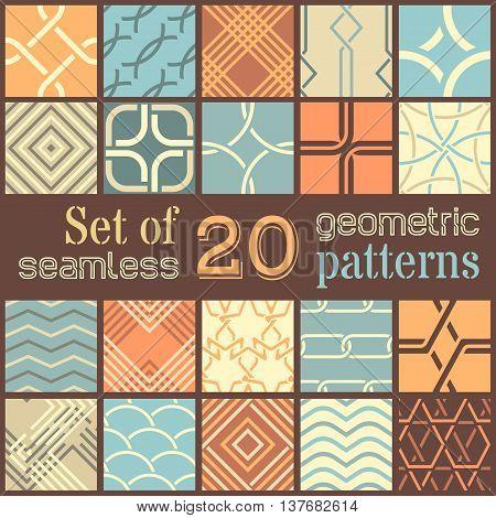 20 Geometric Seamless Patterns Set.