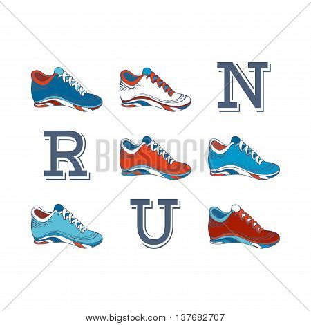 Run! Vector sport jogging shoes design on white background.