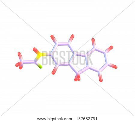 2-Acetylaminofluorene is a carcinogenic and mutagenic derivative of fluorene. It is used as a biochemical tool in the study of carcinogenesis. 3d illustration