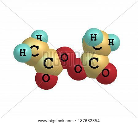 Diacetyl peroxide is an organic peroxide that is a crystalline sand-like solid with a sharp odor. 3d illustration