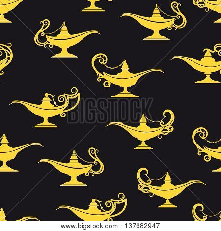 Black and yellow aladdin lamps seamless pattern. Vector illustration