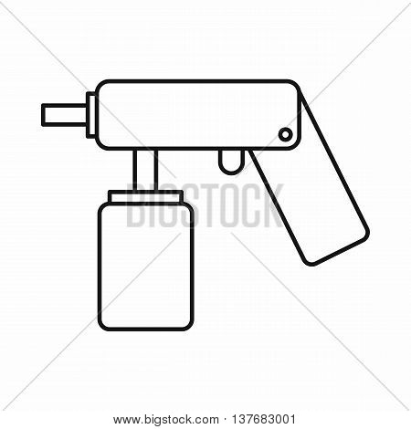 Spray aerosol can bottle with a nozzle icon in outline style isolated vector illustration