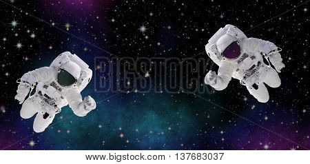 Astronauts in deep space. Discovering the secrets of unknown galaxies. Panorama as decoration. Discovering the mysterious parts of the universe. Elements of this image furnished by NASA.