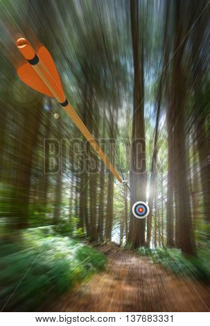 Arrow speeding to archery target with motion blur, part photo, part 3D rendering