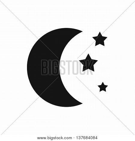 Moon and stars icon in simple style isolated vector illustration