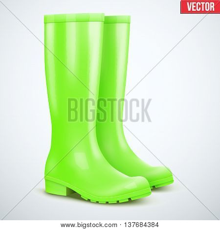 Pair of green rubber rain boots. Symbol of garden wok or autumn and weather. Vector illustration Isolated on white background.