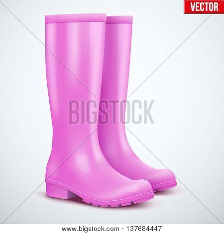 Pair of female pink rubber rain boots. Symbol of garden wok or autumn and weather. Vector illustration Isolated on white background.