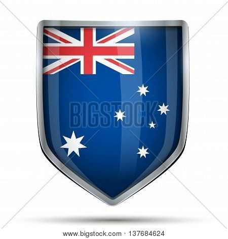 Shield with flag Australia. Editable Vector Illustration isolated on white background.