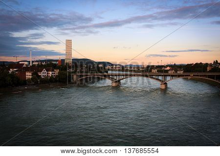 Cosy bright embankent of Rhein river, Basel, Switzerland