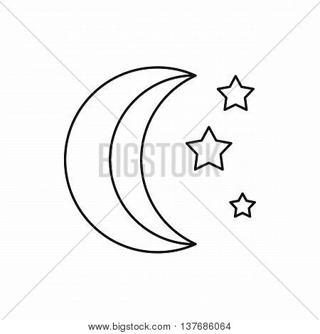 Moon and stars icon in outline style isolated vector illustration