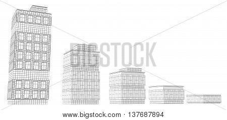 Building sizes design model 3d illustration horizontal over white isolated