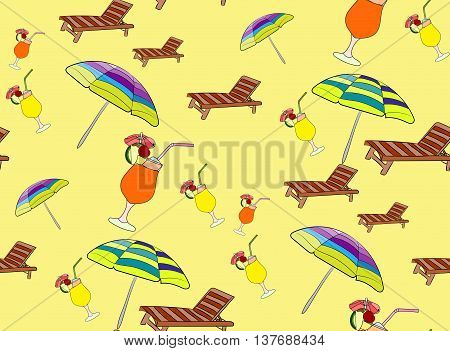 Seamless pattern with other beach equipment on yellow bckground