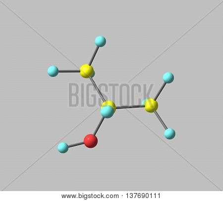 Isopropyl alcohol or Isopropanol is a chemical compound with the molecular formula C3H8O. It is a colorless flammable chemical compound with a strong odor. 3d illustration