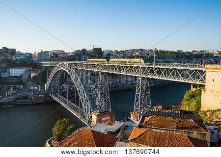 Dom Luiz I Bridge Over Douro River In Porto. Portugal.