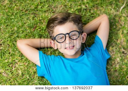 Portrait of young boy in spectacle lying on grass in park
