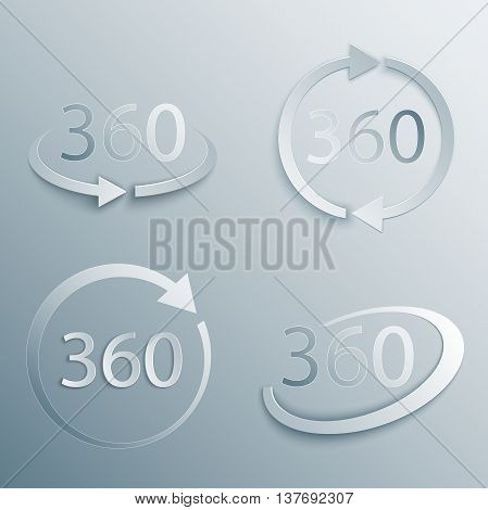 360 Degrees View Vector Icon set in 3d, paper and origami style with shade. Geometry math symbol. Full rotation.