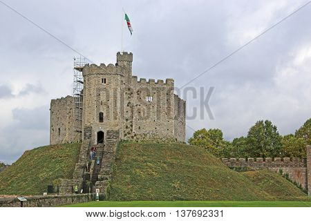 Ancient keep of Cardiff Castle in Wales