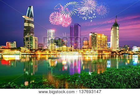 SAI GON, VIET NAM, September 2, 2015 the city of Sai Gon, fireworks, celebrate Independence Day at the waterfront Sai Gon, Vietnam