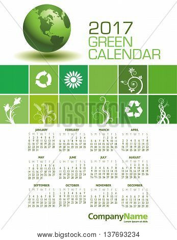 An Elegant 2017 Green Calendar with Space for Type