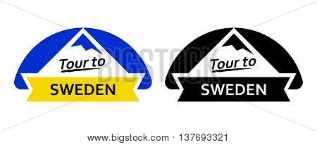 Tour to Sweden. Set of Badges, Emblems with north landscapes and captions. Vector Illustrations in blue and yellow colors