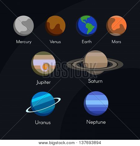 Vector Solar System Planets in Outer Space