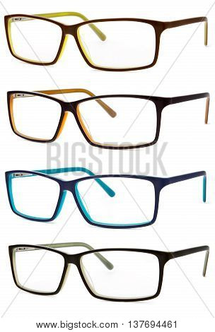set of colored spectacles isolated on white background