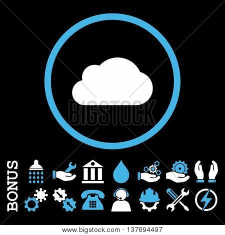 Cloud vector bicolor icon. Image style is a flat pictogram symbol inside a circle, blue and white colors, black background. Bonus images are included.