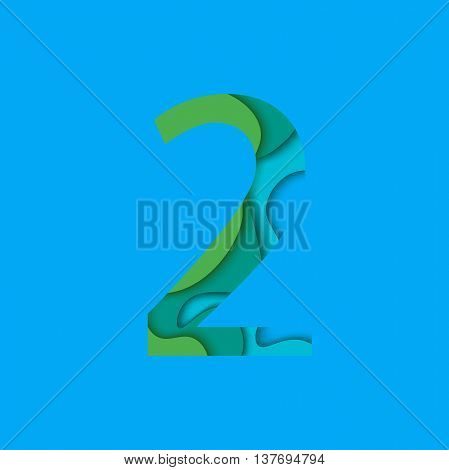 Number two design template element. Figure 2 vector logo, icon and sign in material design style.