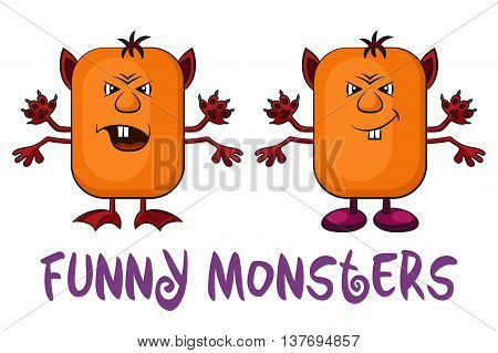 Set of Funny Colorful Cartoon Characters, Different Angry Monsters Waving their Paws, Elements for your Design, Prints and Banners, Isolated on White Background. Vector
