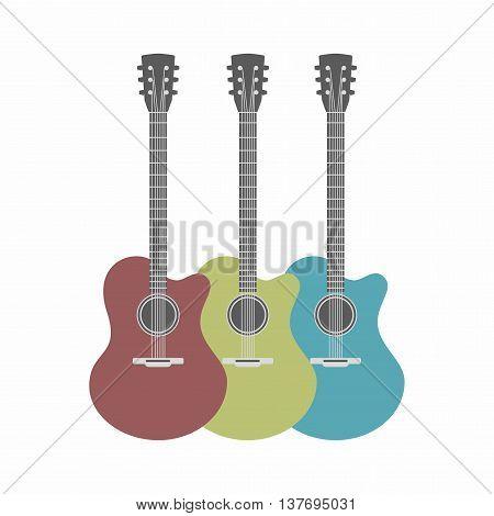 three acoustic guitars set isolated on white background