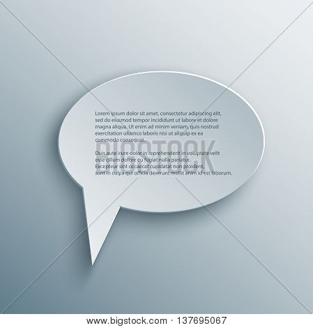 Paper Cutout round speech bubble with shade in 3d and origami style. Vector illustration.