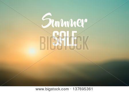 Summer sale vintage concept text on blured background
