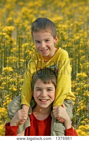 Boys In Flower Field