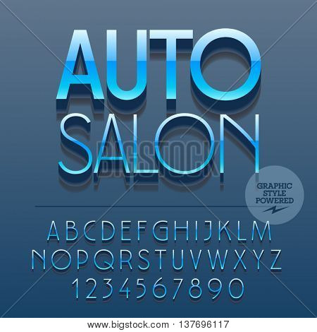 Set of slim reflective alphabet letters, numbers and punctuation symbols. Vector glossy plastic sign with text Auto salon. File contains graphic styles