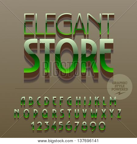 Set of slim reflective alphabet letters, numbers and punctuation symbols. Vector glossy plastic emblem with text Elegant store. File contains graphic styles