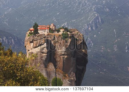 Monastery of the Holy Trinity, in summer morning,  Meteora, Greece.
