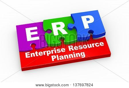 3d rendering of puzzle pieces presentation of erp - enterprise resource planning