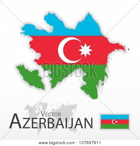 Azerbaijan ( Republic of Azerbaijan ) ( flag and map ) ( transportation and tourism concept )