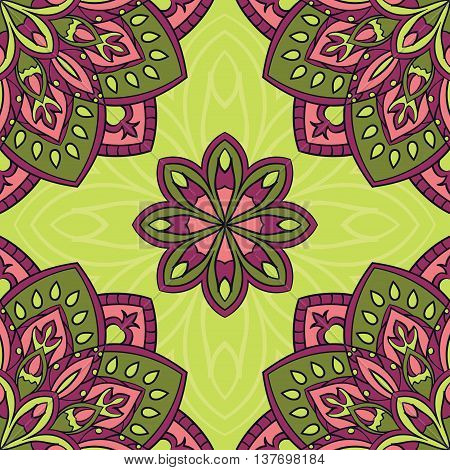 Vector seamless pattern with stylized floral mandalas. Gentle ornament on a green background. Oriental template for design textiles wallpaper carpet curtain pillowcase linens.