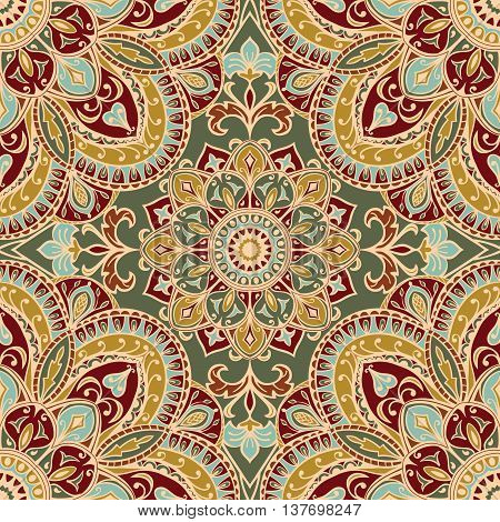 Background with tender filigree ornaments. Seamless vector pattern with elegant mandalas. Template for textile shawl carpet wallpaper.
