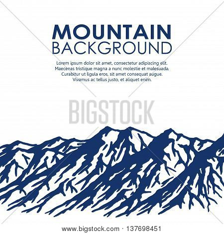 Blue mountain range isolated on white background. Vector illustration of huge mountains with copy-space.