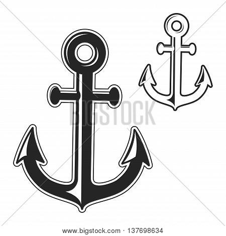 Set of anchors silhouettes isolated on white background. Black and white vector illustration.