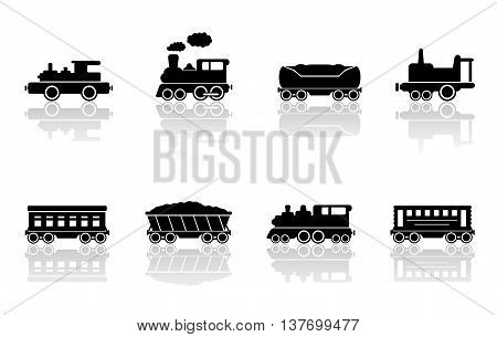 trains and railroad wagons set with mirror reflection silhouette