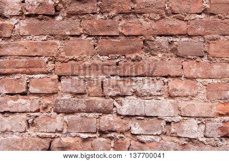 Old brick wall. Brick wall texture. Brick wall background